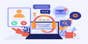 Customer support and live chat outsourcing illustration.