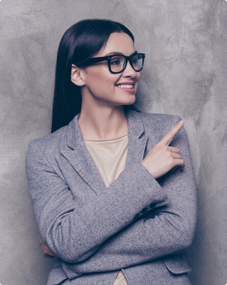 A girl showing happy face and pointing her finger towards leading support as a service provider.