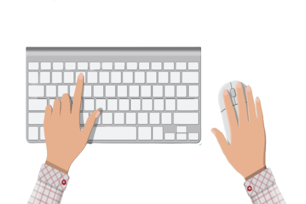 A keyboard showing the fast typing of the chat support agents through keyboard and typing hands,