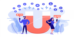 Two people with mobiles and magnet behind depicting lead generation.