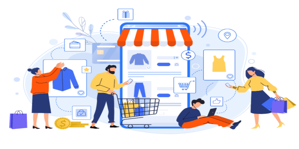 People shopping online in eCommerce store.
