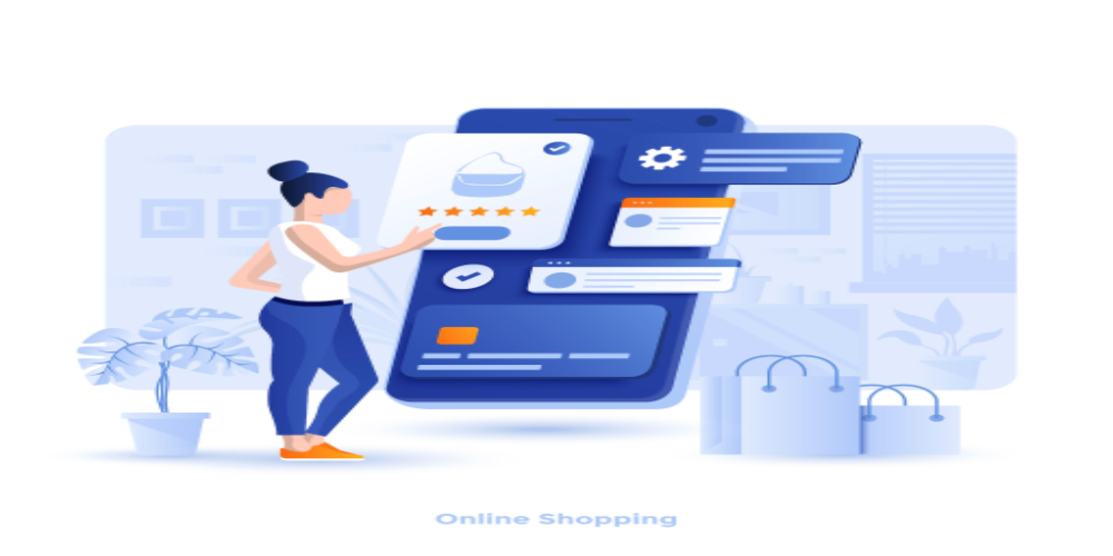 Online shopping and eCommerce support illustration.