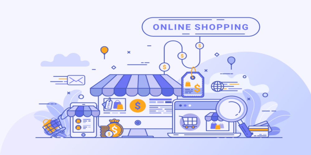 Shopify online customer support, sales funnel, store and dollars flowing in, customer support of shopify illustration