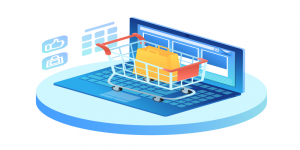 eCommerce shopping cart with laptop.