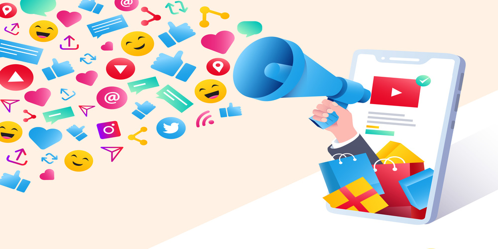 Digital marketing with speaker and emojis exploding.